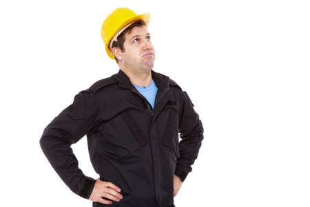 construction work: engineer constructor looks up and sighs
