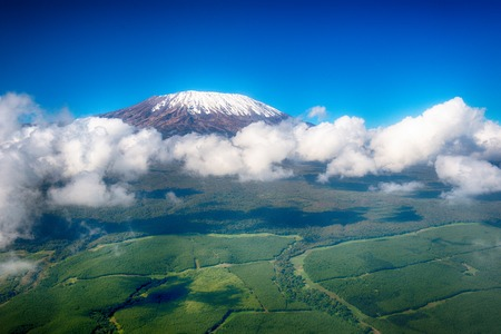 Aerial image of Mount Kilimanjaro, Africa Stock Photo