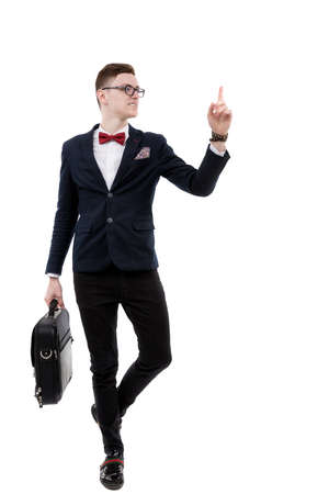 promoter: young promoter businessman pointing at side isolated on a white background