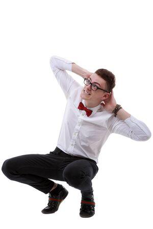dodge: Isolated businessman dodge something