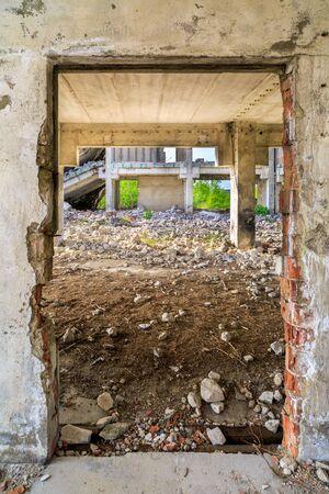 industrial ruins: demolished buildings industrial ruins earthquake