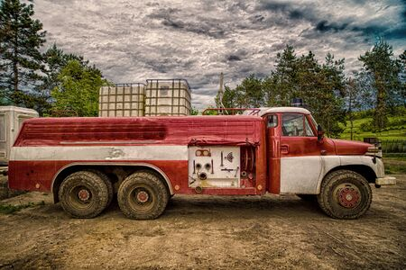 hdr: Old fire truck HDR shooting Stock Photo