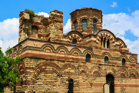 pantocrator: uined Church of Christ Pantokrator, in old historical Nesebar town, Bulgaria. Black sea coast Stock Photo