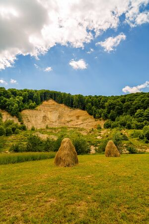 landscape with haystack country in romania