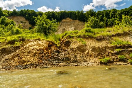instability: Riverbank on the River  showing signs of bank erosion and instability