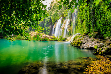 landschap: een prachtige waterval in het bos op een rivier