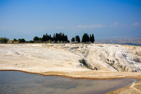 travertine: Travertine pools and terraces in Pamukkale, Turkey