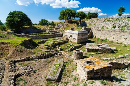The ruins of the legendary ancient city of Troy. Turkey Foto de archivo