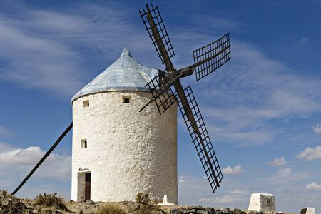 wood turning: Windmills in Spain, La Mancha, famous Don Quijote location Stock Photo