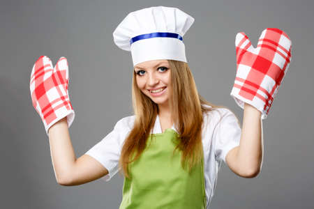 isolated on gray: Female chef in different poses isolated gray background