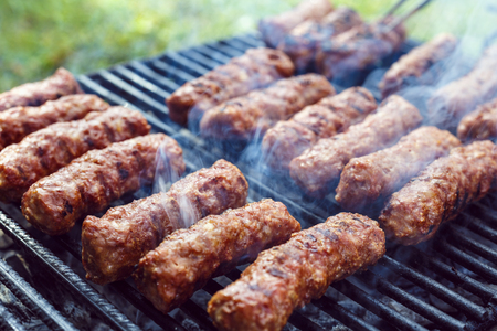 traditional food Meat Balls mici on grill Stock Photo