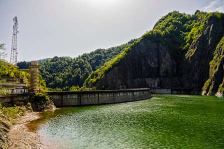hydro electric: Vidraru Dam on Arges River. Arges, Romania. Hydro electric power station, on the suothern side of Transfagarasan mountain road Stock Photo