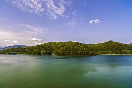 transfagarasan: Vidraru Dam on Arges River. Arges, Romania. Hydro electric power station, on the suothern side of Transfagarasan mountain road Stock Photo