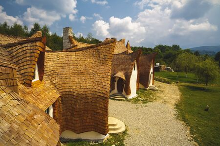 Clay Castle, Fairy Valley, Romania - 27 july 2016 - The pension made of clay and other natural materials is almost 90% ready