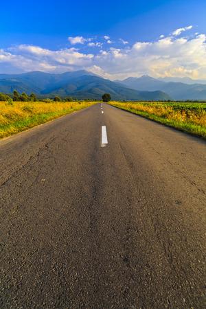a beautiful mountain road in Fagaras mountains Romania Stock Photo