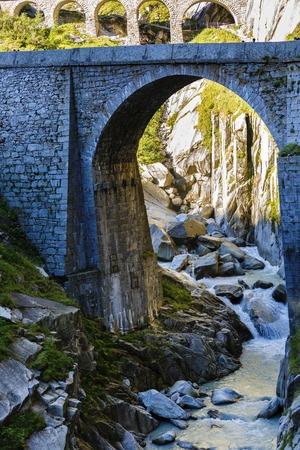 singularity: Devils bridge at St. Gotthard pass, Switzerland Stock Photo