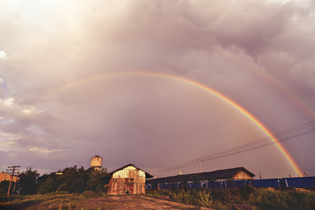 Double rainbow picture somewhere in the country Stock Photo