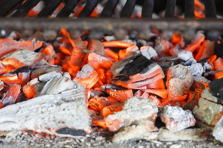 hot coals of the grill Stock Photo