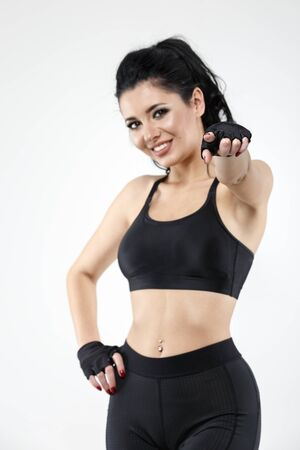 beautiful brunette woman doing various exercise fitness Stock Photo