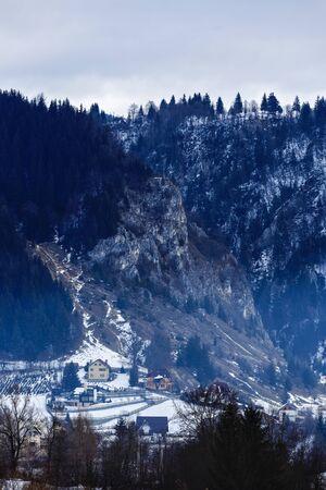 transition period between autumn winter mountain