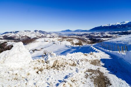 beautiful winter landscape with Bucegi Stock Photo