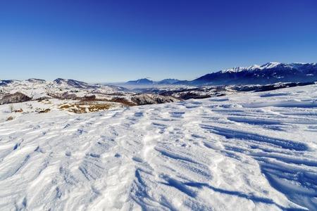 beautiful winter landscape with Bucegi Stock Photo