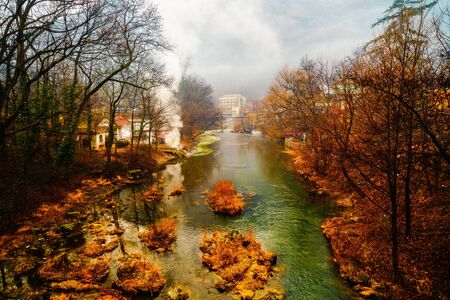 climatic: beautiful landscape with fog on the river Cerna