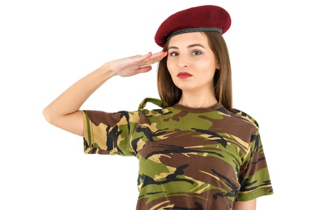 khaki: beautiful young woman soldier in military camouflage outfit
