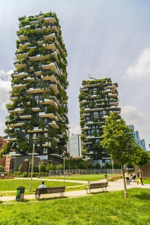 MILAN, ITALY - MAY 28, 2017: Bosco Verticale (Vertical Forest) low view. Designed by Stefano Boeri, sustainable architecture in Porta Nuova district, in Milan