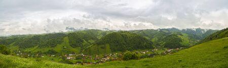 carpathians: Panorama with mountain scenery in Romania, Carpathian Mountains.