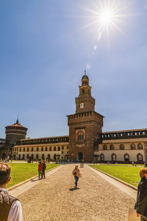 sforzesco: Castello Sforzesco (Sforza Castle) in Milan, Lombardy, Italy, 13-05-2017 Editorial