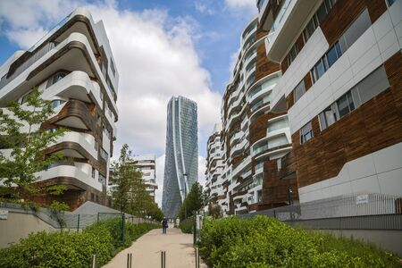 MILAN, ITALY, May,28, 2017 - Isozaki Tower in City Life complex in 3 Torri Milan place, modern buildings and condos.