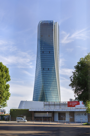 modernity: MILAN, ITALY, May,28, 2017 - Isozaki Tower in City Life complex in 3 Torri Milan place, modern buildings and condos.