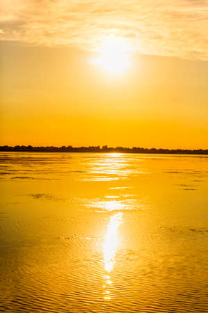 Beautiful scenery with a golden sunset in the Danube Delta Reklamní fotografie