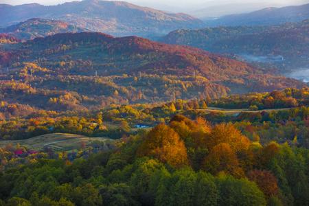Colorful autumn landscape. Carpathian mountains, Romania, Europe. Stock Photo