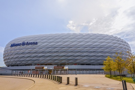 MUNICH, GERMANY - September 22-2018: Entrance to Allianz Arena stadium square Munich, Germany. The Allianz Arena is the home football stadium for FC Bayern Munich with a capacity of 70.000 seats 新聞圖片