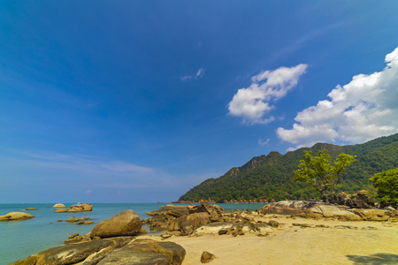 The beautiful summer background of Langkawi Beach in Malaysia.