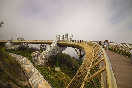 Golden bridge of the Hand of God in da Nang in Vietnam. January 16, 2020.