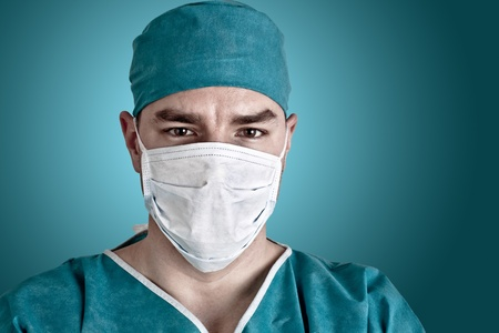 surgeon: Portrait of doctor in scrubs  Close up shot