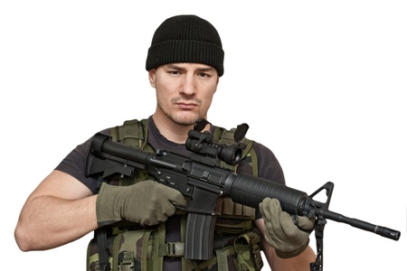 military man: Soldier and modern weapon M4  Isolated on white background
