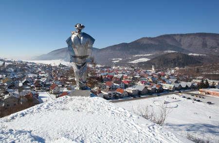 Terchova village and statue of Juraj Janosik photo