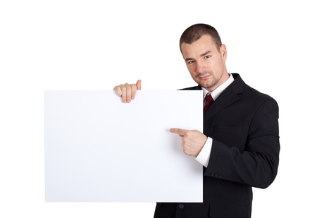 Business man with blank board.  Isolated on white background