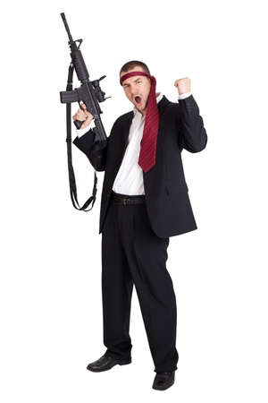 Unstable business man holding a gun  Isolated on white background photo