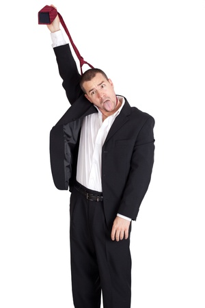 strangle: Businessman strangling himself with tie  Isolated on white background