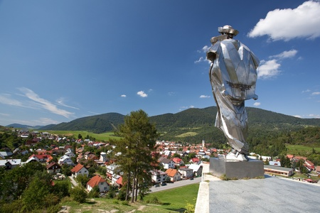 Terchova village and statue of Juraj Janosik