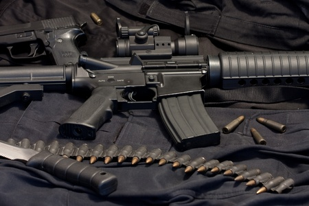 modern weapon M4, black background