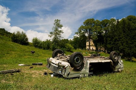 total loss: Crash car wreck on the grass