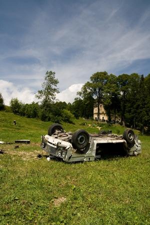 Crash car wreck on the grass