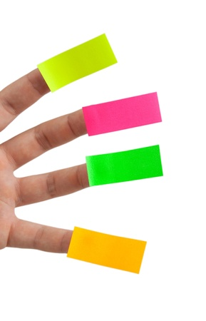 colored sticky notes and fingers Stock Photo