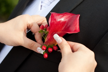 Bride arranging boutonniere flower on suit jacke groom photo